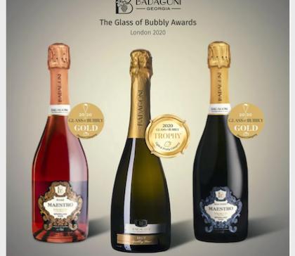 """""""ბადაგონი ბრუტი"""" – პირველი ქართული ცქრიალა ღვინო, რომელმაც საერთაშორისო კონკურსზე """"Golden Trophy"""" მიიღო"""